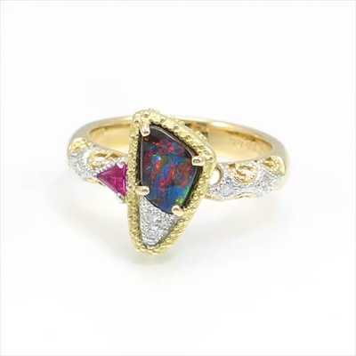 K18 Yellow & White Gold Solid Boulder Opal Ring C102